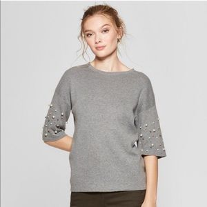 A New Day Pearl Sleeve Embellished Grey Sweater S